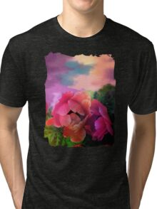 Painterly garden with Anemone flowers Tri-blend T-Shirt