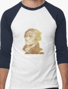 Alexander Hamilton portrait typography Men's Baseball ¾ T-Shirt
