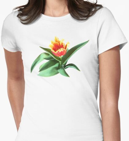 Frilly Orange Tulip Womens Fitted T-Shirt