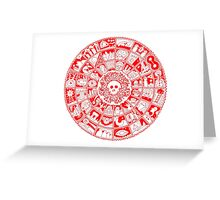 Skull Mandala in Red and White Greeting Card