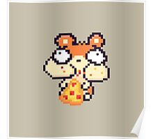 Hamster Eating Pizza Pixel Art Poster
