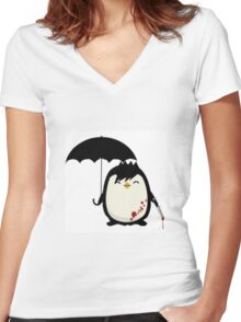Murderous Penguin Women's Fitted V-Neck T-Shirt