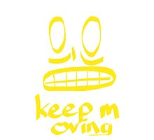 Keep Moving Quote and Face Art Photographic Print