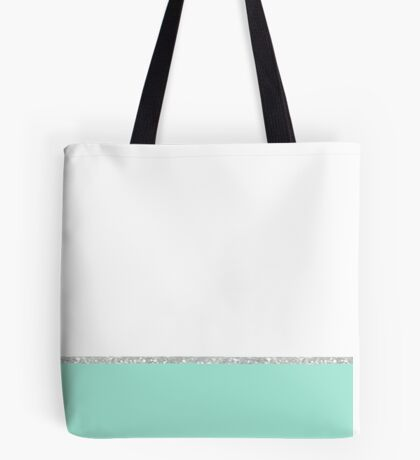 Mint White Modern Color Block Glitter Simple Stripe Tote Bag