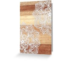 White Doodles on Blonde Wood Greeting Card