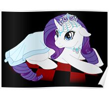 White Queen Rarity on red checkers Poster