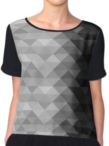 Grayscale triangle geometric squares Chiffon Top