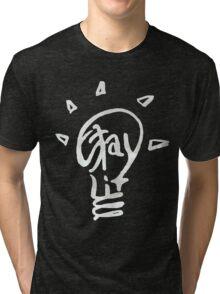 STAYLIT-white Tri-blend T-Shirt
