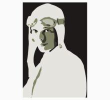 Amelia Earhart grayscale vector art Kids Tee