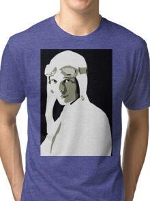 Amelia Earhart grayscale vector art Tri-blend T-Shirt