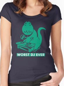 T-Rex is Worst DJ Ever Women's Fitted Scoop T-Shirt