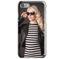 Blonde in leather jacket iPhone Case/Skin