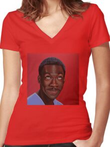Eddie Murphy Painting Women's Fitted V-Neck T-Shirt