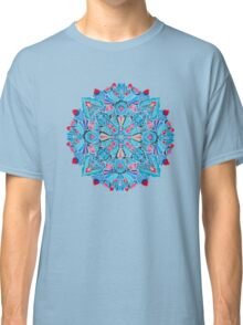 Pink, light blue springtime mandala on black Classic T-Shirt