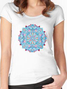 Pink, light blue springtime mandala on black Women's Fitted Scoop T-Shirt