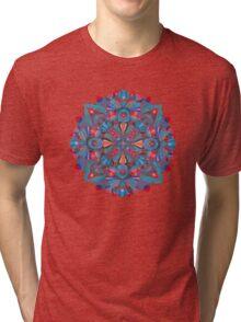 Pink, light blue springtime mandala on black Tri-blend T-Shirt
