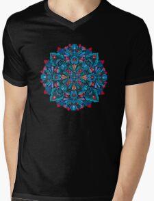 Pink, light blue springtime mandala on black Mens V-Neck T-Shirt