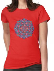 Pink, light blue springtime mandala on black Womens Fitted T-Shirt