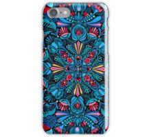 Pink, light blue springtime mandala on black iPhone Case/Skin