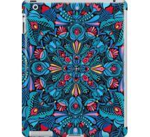 Pink, light blue springtime mandala on black iPad Case/Skin