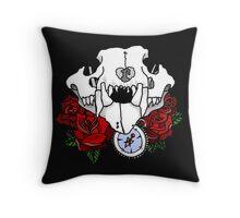 Animal skull & roses Throw Pillow