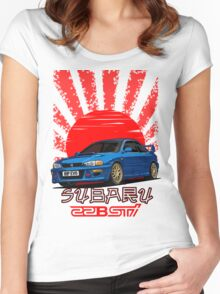 Subaru Impreza 22B WRX STI - R.I.P. EVO (Blue) Women's Fitted Scoop T-Shirt