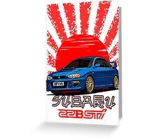 Subaru Impreza 22B WRX STI - R.I.P. EVO (Blue) Greeting Card