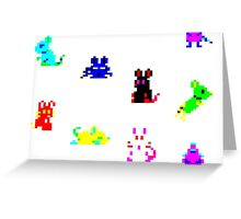 Teletext Mice on White Greeting Card