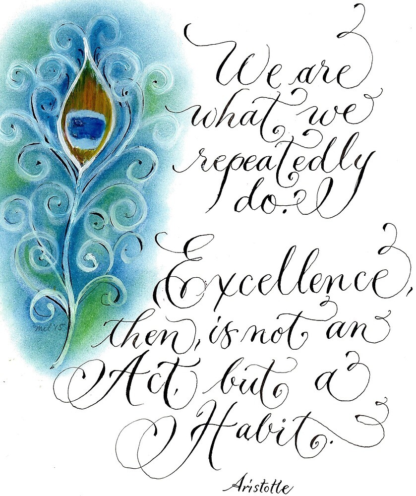 Inspirational Aristotle quote Excellence pastels by Melissa Goza