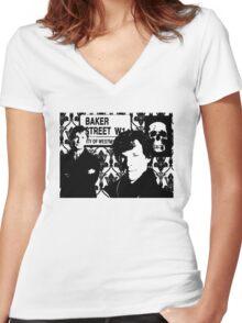 Sherlock silhouette Women's Fitted V-Neck T-Shirt