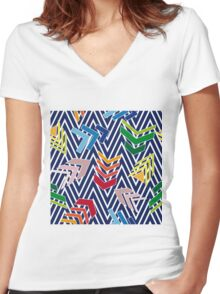 Multicolored chevron pattern with colorful arrows. Women's Fitted V-Neck T-Shirt