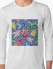 Multicolored chevron pattern with colorful arrows. Long Sleeve T-Shirt