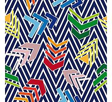 Multicolored chevron pattern with colorful arrows. Photographic Print