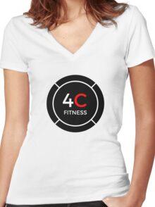 4C FITNESS LOGO Women's Fitted V-Neck T-Shirt