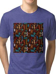 Shamanic dance. Aboriginals art motifs. Tri-blend T-Shirt
