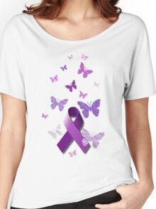 Purple Awareness Ribbon with Butterflies  Women's Relaxed Fit T-Shirt