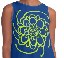 Wood Block Print Flower Number Two Contrast Tank