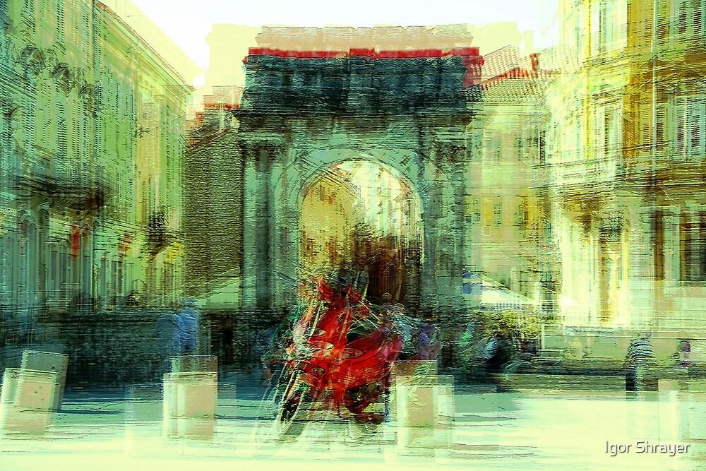 The Essence of Croatia - Red Motorbike in Pula by Igor Shrayer