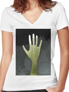 Hand of The Forest and Trees (green) Women's Fitted V-Neck T-Shirt