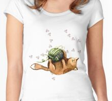 Lovely Cat Playing A Ball Of Wool Women's Fitted Scoop T-Shirt