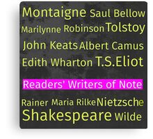 The Readers' Writers of Note  Canvas Print