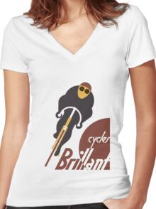Retro vintage cycles Brillant advertising Women's Fitted V-Neck T-Shirt