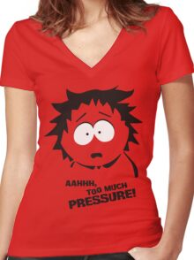 Too much pressure! Women's Fitted V-Neck T-Shirt