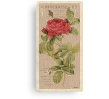 Vintage Burlap Floral 1 Canvas Print