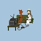 Jesus And Devil Playing Video Games Pixel Art by obinsun