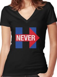 NEVER HILLARY Women's Fitted V-Neck T-Shirt