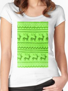 Ugly Christmas Sweater Pattern Women's Fitted Scoop T-Shirt