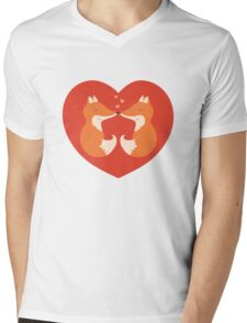 Lovers foxes. Mens V-Neck T-Shirt