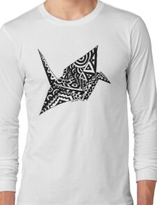 Paper Crane Origami Doodle Long Sleeve T-Shirt