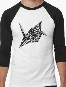 Paper Crane Origami Doodle Men's Baseball ¾ T-Shirt